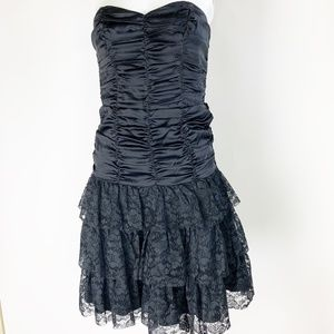 Betsey Johnson Ruched Ruffled Strapless Prom Party